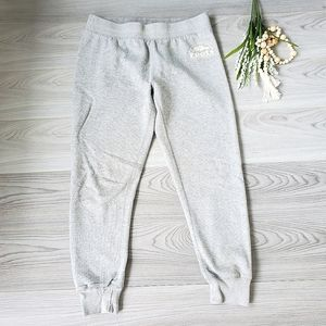 ROOTS heathered grey joggers roots logo
